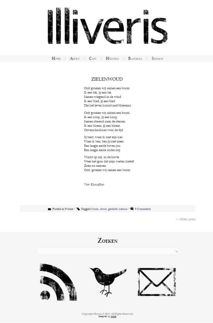 Screenshot van mijn blog Illiveris