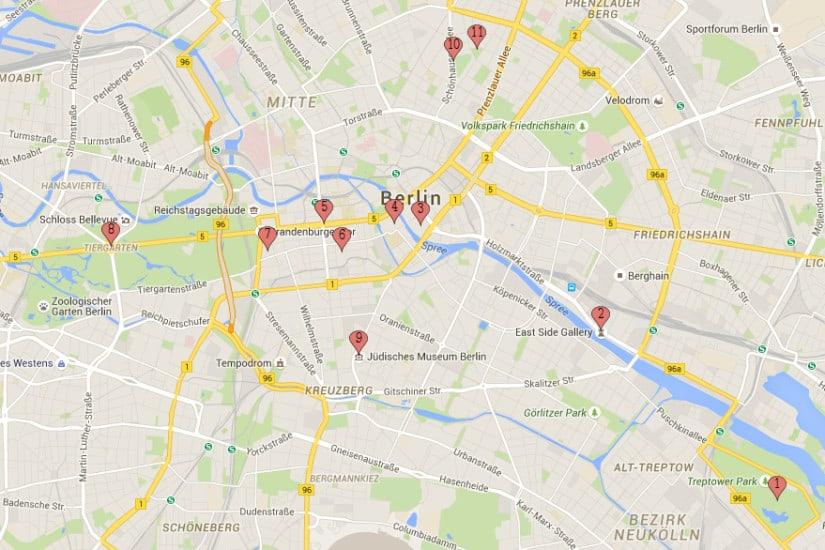 Bezienswaardigheden citytrip Berlijn map