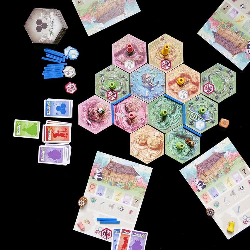 Board Game Review - Takenoko Review - Voorbeeld opstelling - door AGMJ