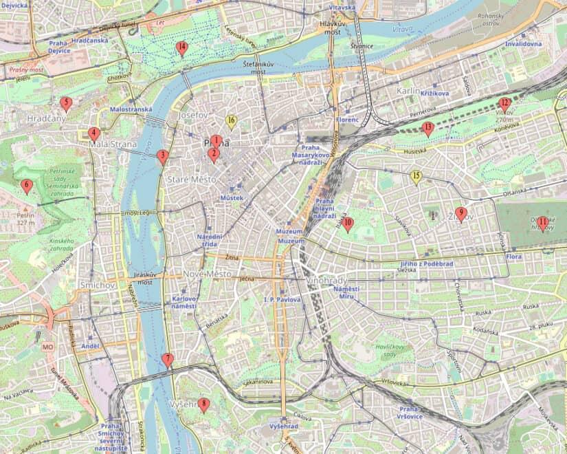 Kaart Praag - Citytrip Praag bezienswaardigheden - Reistips van Laurens M - via AGMJ
